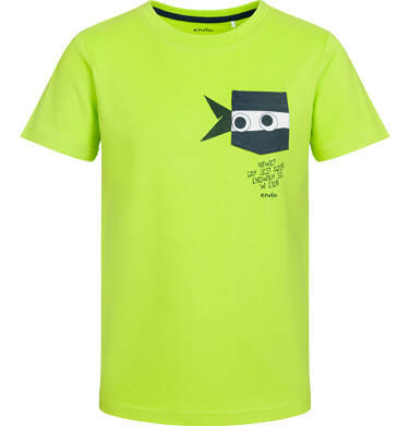 Endo - T-shirt z krótkim rękawem dla chłopca, z zabawną kieszenią ninja, limonkowy, 2-8 lat C03G024_2