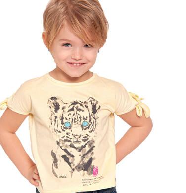 Endo - Bluzka z krótkim rękawem dla dziewczynki, z tygrysem, żółta, 2-8 lat D03G107_1 300