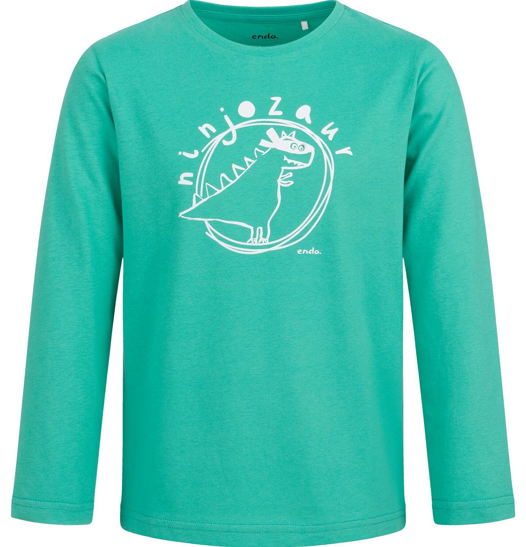 Endo - T-shirt z długim rękawem dla chłopca, z dinozaurem, zielony, 2-8 lat C04G116_1