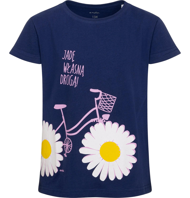 Endo - T-shirt z krótkim rękawem dla dziewczynki, z rowerem i stokrotkami, granatowy, 9-13 lat D05G020_2