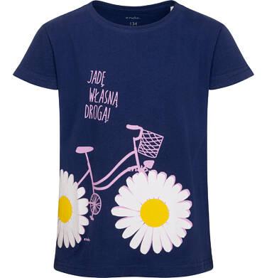 Endo - T-shirt z krótkim rękawem dla dziewczynki, z rowerem i stokrotkami, granatowy, 9-13 lat D05G020_2 22