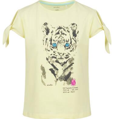 Endo - Bluzka z krótkim rękawem dla dziewczynki, z tygrysem, żółta, 9-13 lat D03G607_1 20
