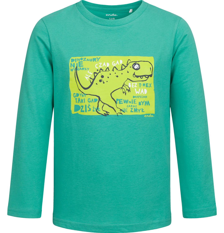 Endo - T-shirt z długim rękawem dla chłopca, z dinozaurem, zielony, 2-8 lat C04G118_1