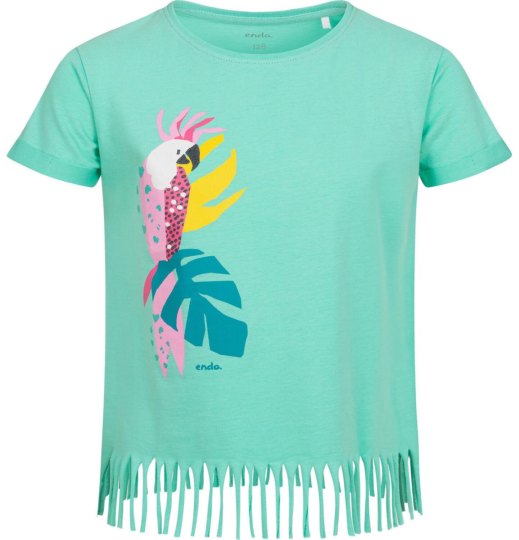 Endo - T-shirt z krótkim rękawem dla dziewczynki, z frędzlami na dole, z papugą, zielony, 9-13 lat D05G149_1