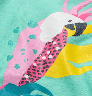Endo - T-shirt z krótkim rękawem dla dziewczynki, z frędzlami na dole, z papugą, zielony, 9-13 lat D05G149_1 9