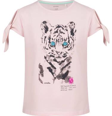 Endo - Bluzka z krótkim rękawem dla dziewczynki, z tygrysem, różowa, 2-8 lat D03G107_2 301