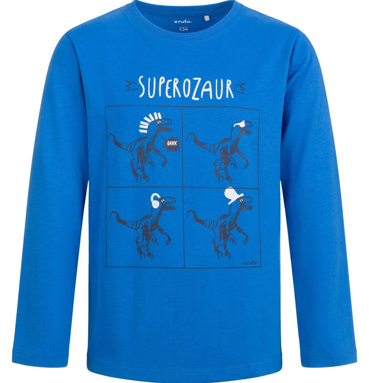Endo - T-shirt z długim rękawem dla chłopca, z dinozaurem, niebieski, 2-8 lat C04G120_1