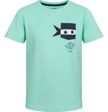 T-shirt z krótkim rękawem dla chłopca, z zabawną kieszenią ninja, miętowy, 2-8 lat C03G524_3