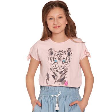 Endo - Bluzka z krótkim rękawem dla dziewczynki, z tygrysem, różowa, 9-13 lat D03G607_2 34