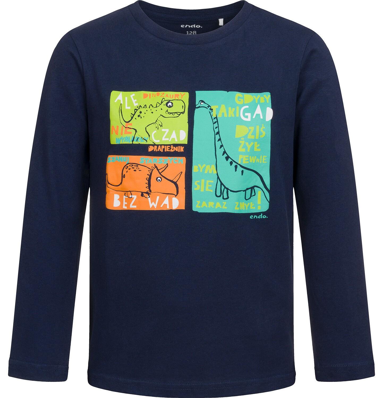 Endo - T-shirt z długim rękawem dla chłopca, w dinozaury, czarny, 2-8 lat C04G121_1