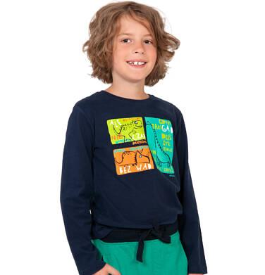 Endo - T-shirt z długim rękawem dla chłopca, w dinozaury, czarny, 2-8 lat C04G121_1 26