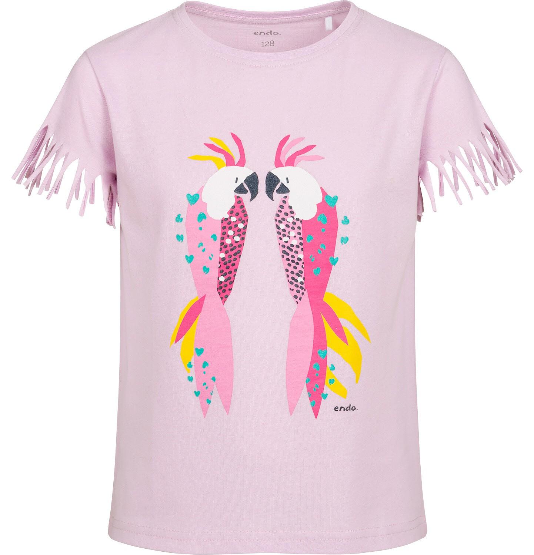 Endo - T-shirt z krótkim rękawem dla dziewczynki, z frędzlami przy rękawach, z papugą, różowy, 9-13 lat D05G150_1