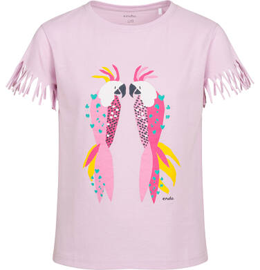 Endo - T-shirt z krótkim rękawem dla dziewczynki, z frędzlami przy rękawach, z papugą, różowy, 9-13 lat D05G150_1 7