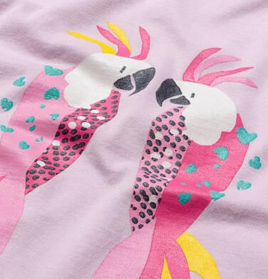 Endo - T-shirt z krótkim rękawem dla dziewczynki, z frędzlami przy rękawach, z papugą, różowy, 9-13 lat D05G150_1 6