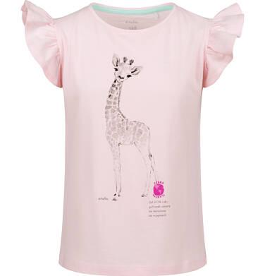 Endo - Bluzka z krótkim rękawem dla dziewczynki, z żyrafą, różowa, 2-8 lat D03G108_1 134