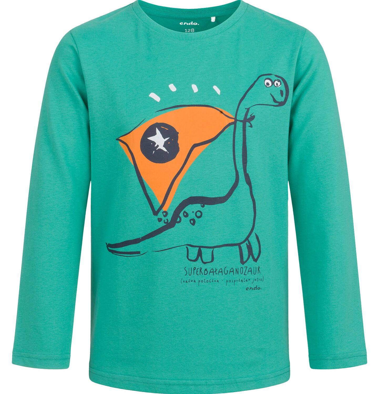 Endo - T-shirt z długim rękawem dla chłopca, z dinozaurem, zielony, 2-8 lat C04G122_1