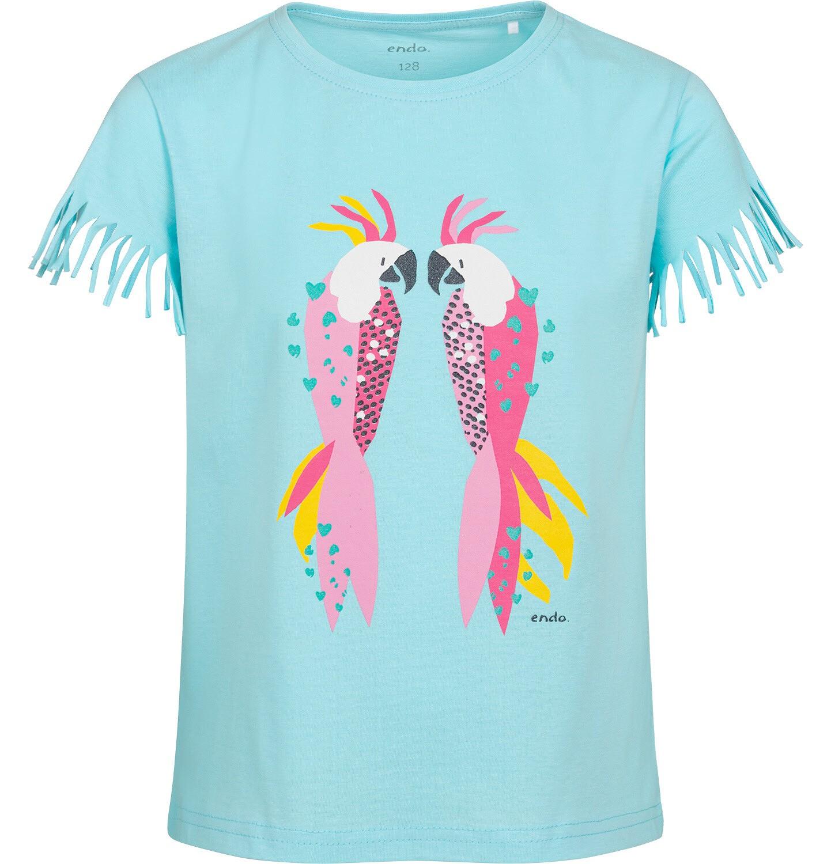 Endo - T-shirt z krótkim rękawem dla dziewczynki, z frędzlami przy rękawach, z papugą, niebieski, 9-13 lat D05G150_2