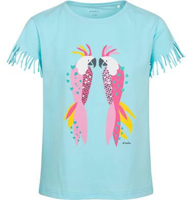 Endo - T-shirt z krótkim rękawem dla dziewczynki, z frędzlami przy rękawach, z papugą, niebieski, 9-13 lat D05G150_2 6