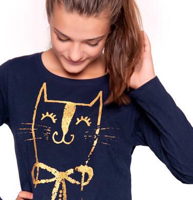 T-shirt z długim rękawem dla dziewczynki 9-13 lat D92G524_2