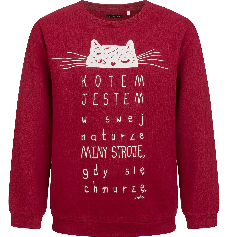 Endo - Bluza dla dziewczynki, z kotem, bordowa, 9-13 lat D04C036_1