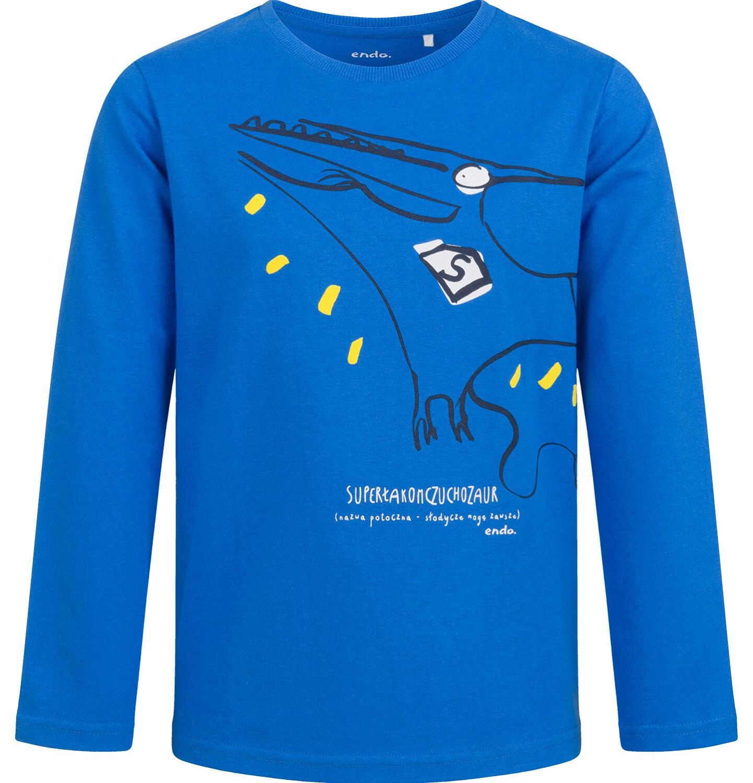 Endo - T-shirt z długim rękawem dla chłopca, z dinozaurem, niebieski, 2-8 lat C04G123_1