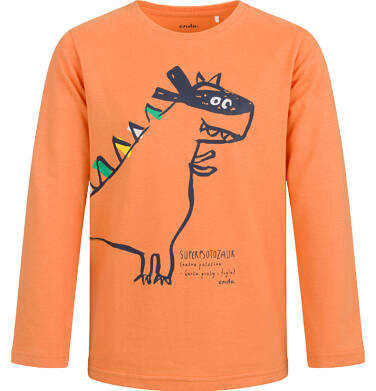 Endo - T-shirt z długim rękawem dla chłopca, z dinozaurem, pomarańczowy, 2-8 lat C04G124_1 25