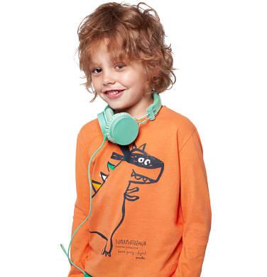 Endo - T-shirt z długim rękawem dla chłopca, z dinozaurem, pomarańczowy, 2-8 lat C04G124_1 13