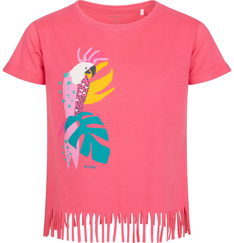 Endo - T-shirt z krótkim rękawem dla dziewczynki, z frędzlami na dole, z papugą, różowy, 2-8 lat D05G152_2