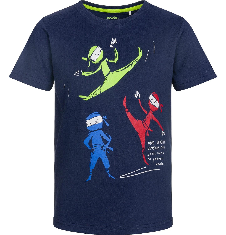 Endo - T-shirt z krótkim rękawem dla chłopca, drużyna ninja, ciemnogranatowy, 9-13 lat C03G530_1