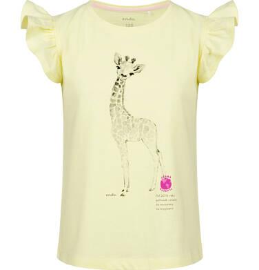 Endo - Bluzka z krótkim rękawem dla dziewczynki, z żyrafą, żółta, 9-13 lat D03G608_2 224