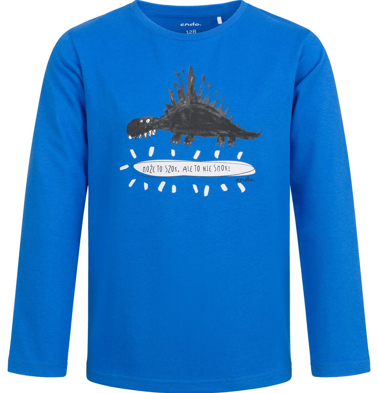 Endo - T-shirt z długim rękawem dla chłopca, z dinozaurem, niebieski, 2-8 lat C04G125_1