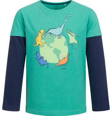 T-shirt z długim rękawem dla chłopca, z kulą ziemską, zielony, 2-8 lat C04G129_1
