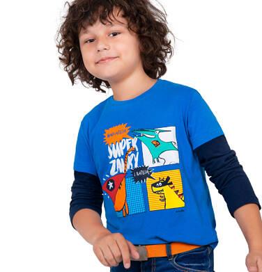 Endo - T-shirt z długim rękawem dla chłopca, z dinozaurami, niebieski, 2-8 lat C04G131_1 36