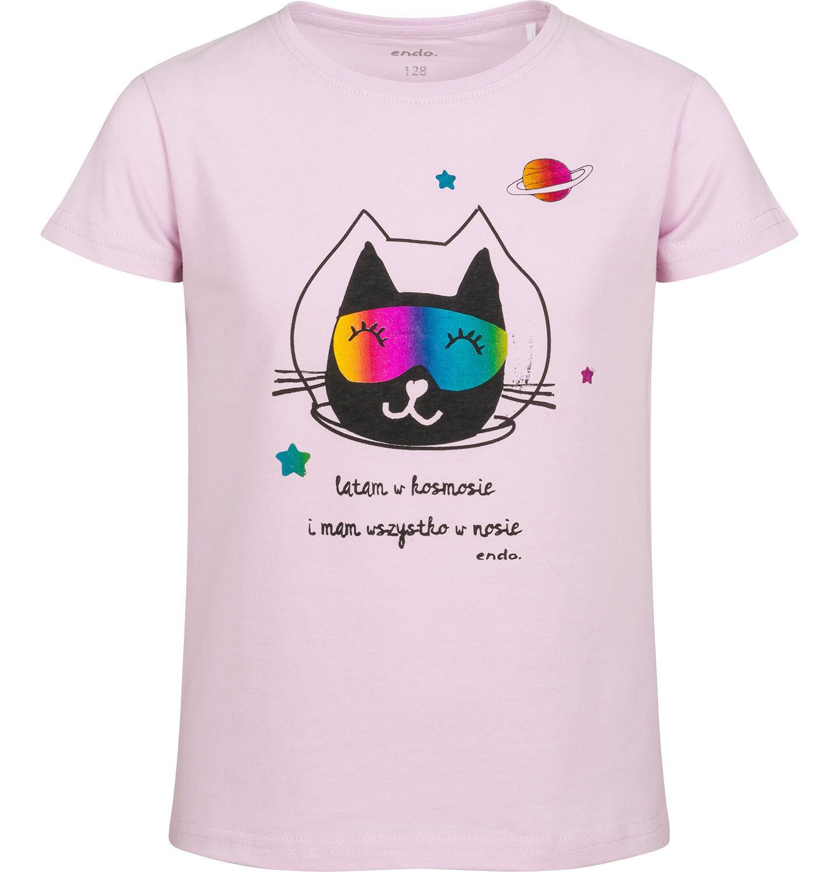 Endo - T-shirt z krótkim rękawem dla dziewczynki, z kotem kosmonautą, różowy, 2-8 lat D05G163_1