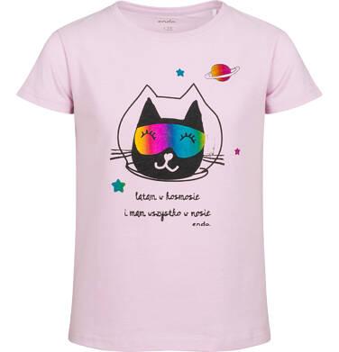 Endo - T-shirt z krótkim rękawem dla dziewczynki, z kotem kosmonautą, różowy, 2-8 lat D05G163_1 8