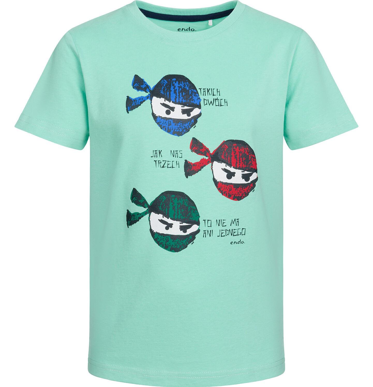 Endo - T-shirt z krótkim rękawem dla chłopca, motyw z ninją, miętowy, 2-8 lat C03G031_1