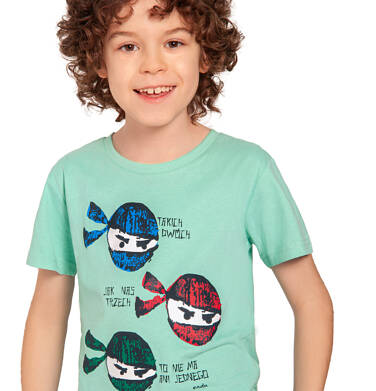 Endo - T-shirt z krótkim rękawem dla chłopca, motyw z ninją, miętowy, 2-8 lat C03G031_1 7