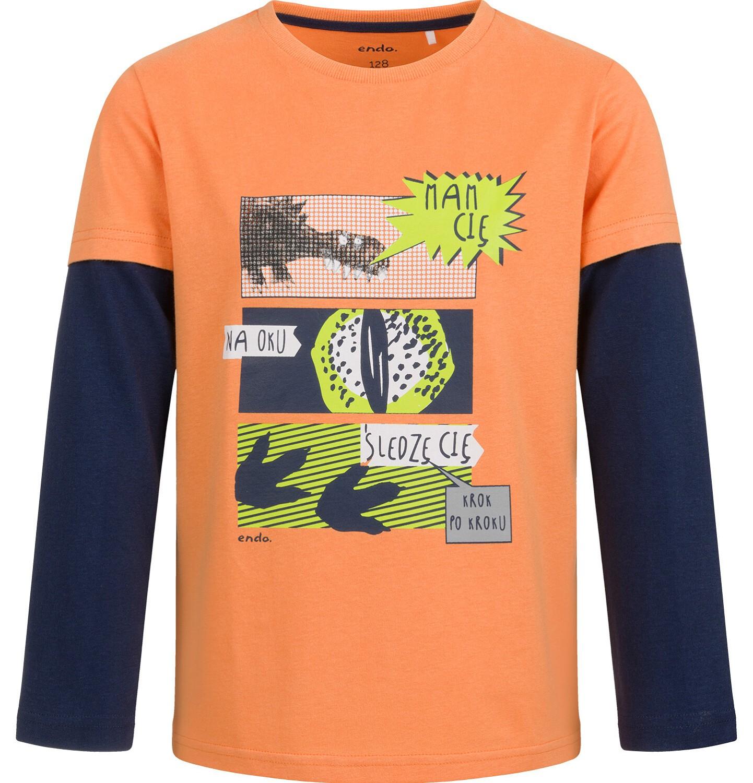 Endo - T-shirt z długim rękawem dla chłopca, z komiksem, pomarańczowy, 2-8 lat C04G132_1
