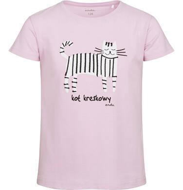Endo - T-shirt z krótkim rękawem dla dziewczynki, z kotem kreskowym, różowy, 2-8 lat D05G171_2 7