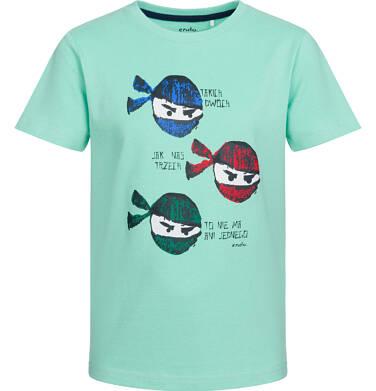 Endo - T-shirt z krótkim rękawem dla chłopca, motyw z ninją, miętowy, 9-13 lat C03G531_1