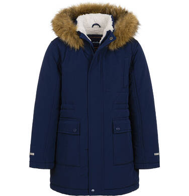 Długa kurtka parka zimowa z kapturem, ciemnogranatowa, 9-13 lat C04A002_1