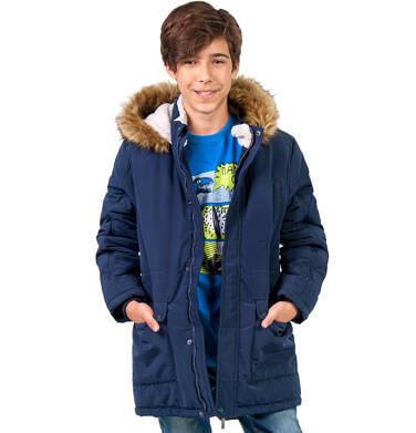 Endo - Długa kurtka parka zimowa z kapturem, ciemnogranatowa, 9-13 lat C04A002_1 22