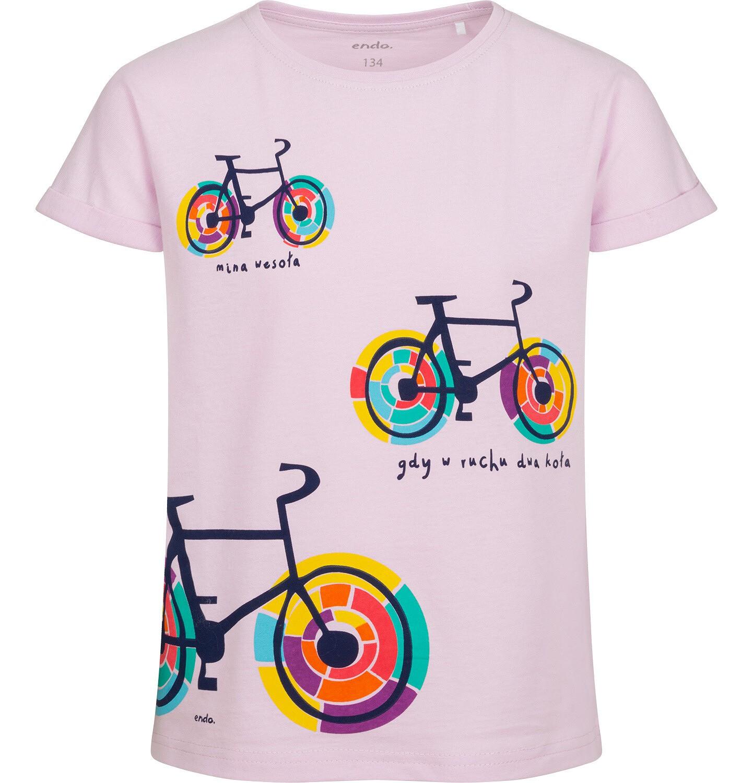 Endo - T-shirt z krótkim rękawem dla dziewczynki, z kolorowymi rowerami, różowy, 9-13 lat D05G174_1