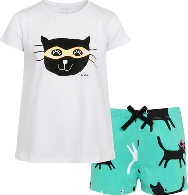 Piżama z krótkim rękawem dla dziewczynki, z kotem, biała, 2-8 lat D05V001_1