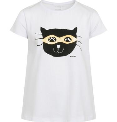 Endo - Piżama z krótkim rękawem dla dziewczynki, z kotem, biała, 2-8 lat D05V001_1 4