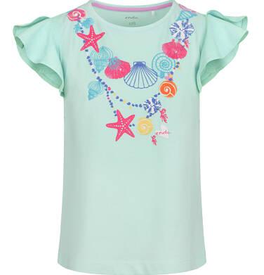 Endo - Bluzka z krótkim rękawem dla dziewczynki, z morskim motywem, niebieska, 2-8 lat D03G149_1