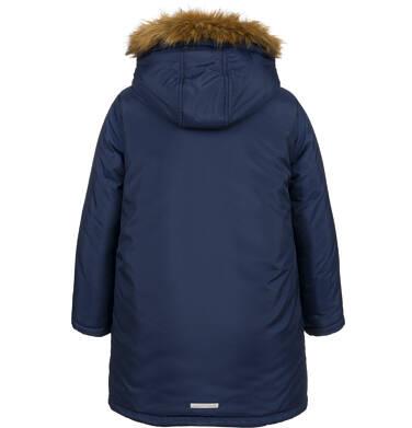 Długa kurtka parka zimowa z kapturem, granatowa, 9-13 lat C04A005_1