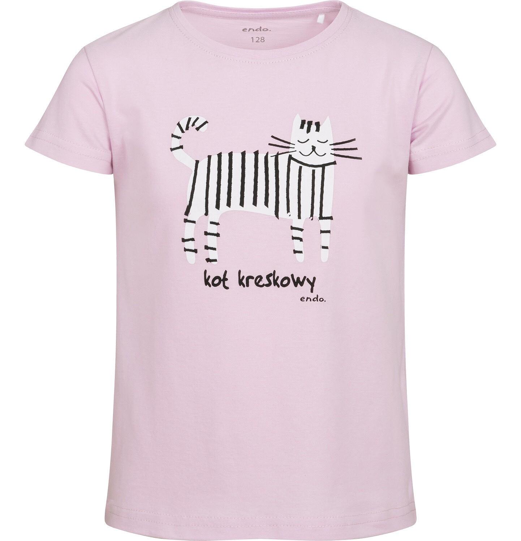 Endo - T-shirt z krótkim rękawem dla dziewczynki, z kotem kreskowym, różowy, 9-13 lat D05G182_2