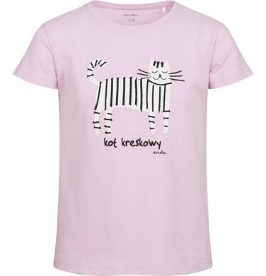 T-shirt z krótkim rękawem dla dziewczynki, z kotem kreskowym, różowy, 9-13 lat D05G182_2