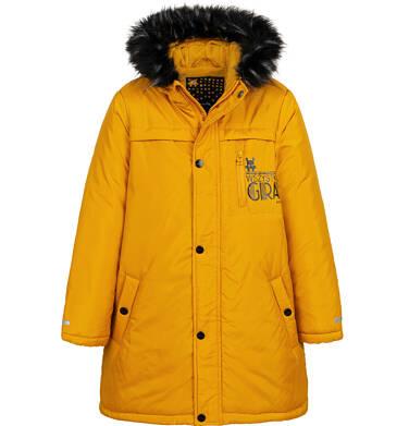 Długa kurtka parka zimowa z kapturem, musztardowa, 9-13 lat C04A005_2